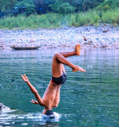 Swimming in Dawki Umgnot River Meghalaya